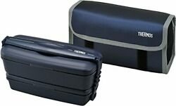 Thermos Big Lunch Food Container Double Deck Bento Box 900ml Djb-904w From Japan