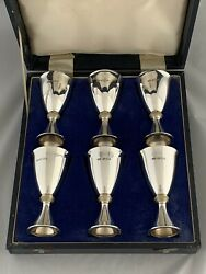 Set Of 6 Solid Silver Goblets / Wine Cups 1975 Mappin And Webb London Sterling