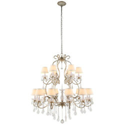 Crystal Chandelier Vintage Silver Wrought Iron Farmhouse Lighting 18 Light 47