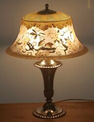 Beautiful Pairpoint Bird And Floral Scene Reverse Painted Table Lamp
