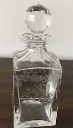 """Rare An Original Antique St Louise """"cleo"""" Engraved Crystal Whiskey Decanter"""