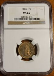 1860 1c Round Bust Indian Head Cent Ngc Ms65
