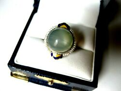 Antique 14k White Gold Filigree Ringgreen Moonstone,seeds Pearl And Enamel,deco
