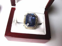 Antique 14k 2-tone W/g Filigree Ring With Huge Sapphire And Seeds Pearl,art Deco