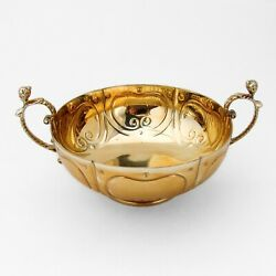 Two Handled Marriage Bowl Reproduction Ensko Sterling Silver Gilt