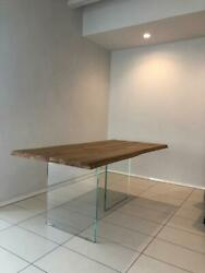 Table In Oak Solid Wood, Legs Glass, Various Sizes