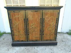 Asian Drexel Buffet Server Chinoiserie Hollywood Regency Sideboard Bar Console