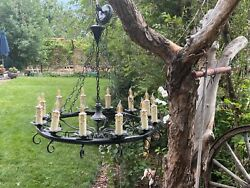 Antique Vintage Wrought Iron Gothic12 Candle Candelabra Medieval Light Fixture