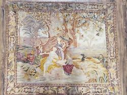 Antique French Tapestry Petitpoint European Needlepoint Moses From Water 3.6 X 4