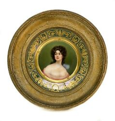 Royal Vienna Austria Hand Painted Porcelain Plate In Period Frame, Signed, C1910