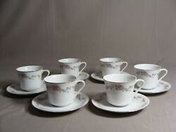 6 Crescent China By Ranmaru Cups And 6 Saucers In The Limoge Pattern Japan