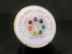4 Year Chakra Bling Aa Medallion -- Alcoholics Anonymous Chip