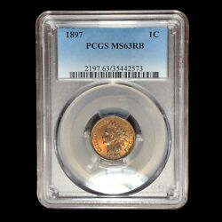 1897 Pcgs Ms-63 Rb Indian Head Cent Penny W9039