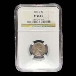 1914 D Ngc Vf-25 Lincoln Cent Wheat Penny W9086