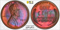 1911 Matte Proof Pcgs Pr-65 Red / Brown Lincoln Cent Wheat Penny W6973