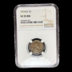 1914 D Ngc Vf-25 Lincoln Cent Wheat Penny W9087