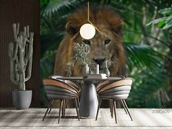 3d Green Plant Animal Lion Self-adhesive Removable Wallpaper Murals Wall 436