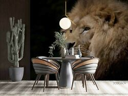 3d Animal Black Lion Self-adhesive Removable Wallpaper Murals Wall 442