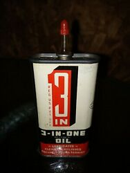 Rare Clear Spout 3-in-1 Oil Can 3oz. Tin Oiler Advertsing