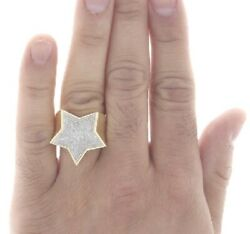 10k Yellow Real Gold Natural Diamond Super Star Statement Pinky Ring For Mens