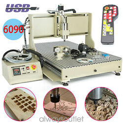 Usb 4 Axis 2.2kw Vfd 6090 Cnc Router Engraver Wood Metal Carving Mill Machine+rc