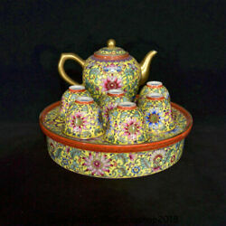 6 Yongzheng Marked China Dynasty Colour Enamels Porcelain Flower Teapot Cup Set