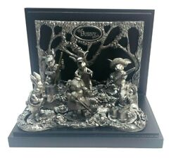 """Vintage Michael Ricker Pewter """"the Bunny Band"""" Rare Collectible With Band Stand"""