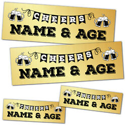 2 X Small 2 X Large Banner Happy Birthday Personalised Banners Gold Beer