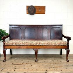 Antique George Iii Oak Settle Bench M-1185 - Free Delivery