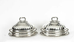 Antique Pair Old Sheffield Plate Beef Venison Tureens And Domed Covers C 1820