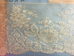 Antique Silk Lace Trim Cream Chantilly Floral Scallop Edge By the Yard x 7quot; Wide