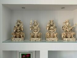 Large Chinese Republic Period Emperor Deity Statues Figures Carved Set Of 4 -