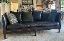 Lillian August Classic Custom 7' Black Leather Sofa Loveseat Couch Vintage