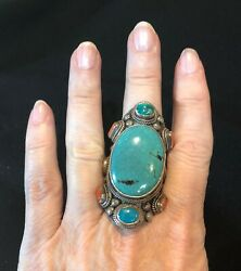 Turquoise, Coral, Ss, Ring Dramatic Huge Southwestern Tribal Native American 9.5