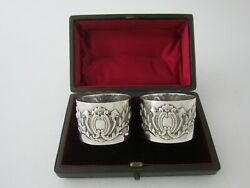 Antique Victorian Sterling Silver Napkin Rings - 1895 By George Maudsley Jackson