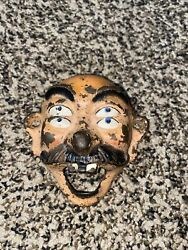 Rare Vintage Wilton Cast Iron Painted Seeing Double Face Wall Bottle Opener