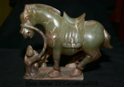 7.6 Old Natural Hetian Green Jade Nephrite Dynasty People Pull Horse Statue