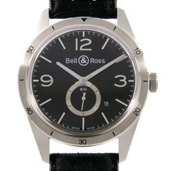Bell And Ross Brv123-bs-st/sf Vintage Br123 Black Silver Automatic Watch Excellent