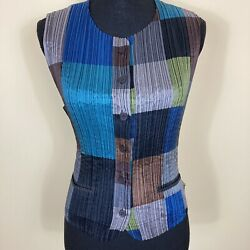Issey Miyake Pleated Crepe Vest Size Small Colorblock Pockets Tie In Back