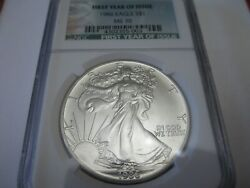 1986-s Silver American Eagle Ngc Ms70 - Low Mintage