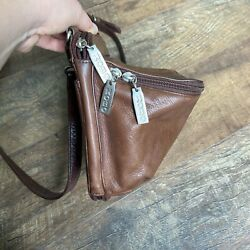 vintage hobo international brown leather adjustable crossbody unique pouch $45.00