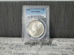 1922 P Peace Silver Dollar Coin 1 One Dollar 90 Silver Round Pcgs Ms64