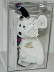 Authenticated 2006 New Year Bear Signed By Ty Warner W/card Beanie Baby Mq-mwmt