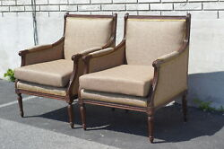 Pair Of Walnut French Louie Xvi Living Room Chairs Newly Upholstered And Restored