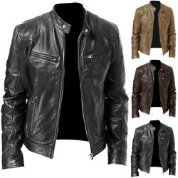 Menand039s Pu Leather Jacket Zip Coat Stand Collar Motorcycle Jackets Outwear Tops