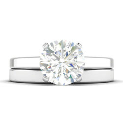0.7ct E-vs1 Diamond Cathedral Engagement Ring 18k White Gold Any Size