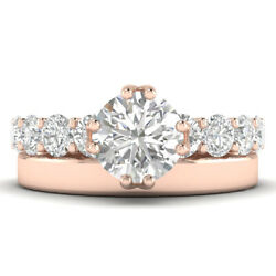 1.7ct H-si2 Diamond Round Engagement Ring 18k Rose Gold Any Size