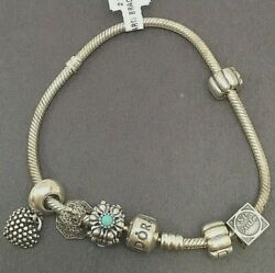 Pandora Sterling Silver Charm Bracelet Flowers Floral Heart Religious - 5 Charms