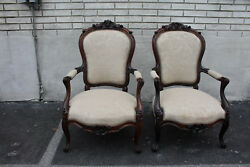 Frenchexquisite Pair Of French Bergere Rosewood Armchairs, New Upholstery 19th C