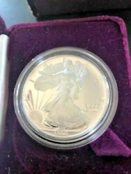 1990 Proof American Eagle 1 Proof Silver Dollar 1 Troy Ounce Coin And Box Coa